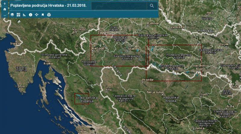 Karta poplavljenih područja u Republici Hrvatskoj 2018.